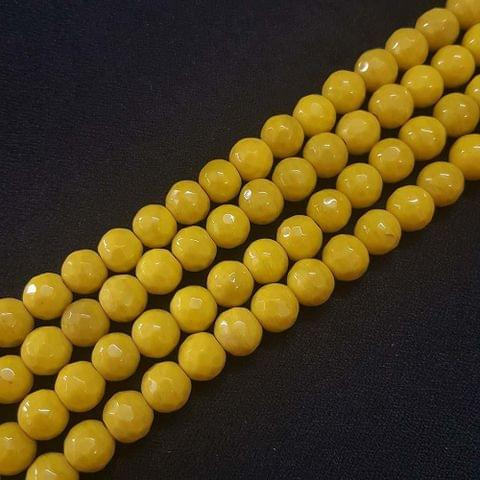 10mm Yellow Jade Faceted Beads, 2 Strings, 35+ Beads In Each String
