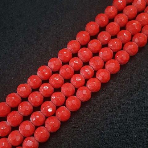 10mm Dark Red Jade Faceted Beads, 2 Strings, 35+ Beads In Each String
