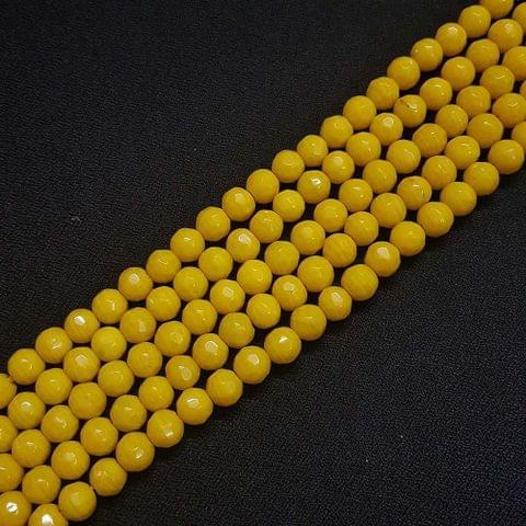 8mm Yellow Jade Faceted Beads, 2 Strings, 43+ Beads In Each String