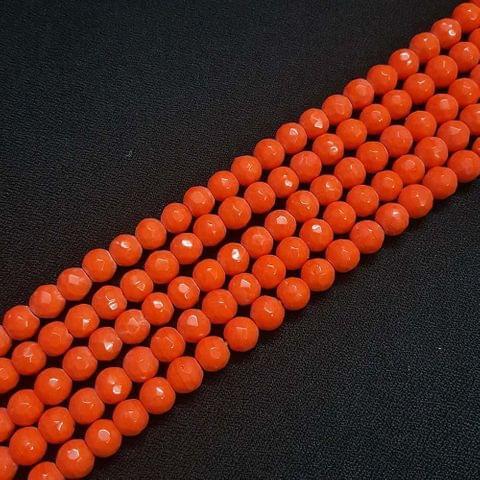 8mm Orange Jade Faceted Beads, 2 Strings, 43+ Beads In Each String
