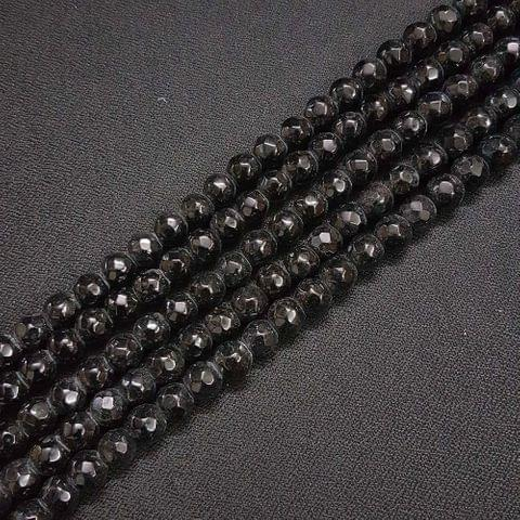 8mm Black Jade Faceted Beads, 2 Strings, 43+ Beads In Each String