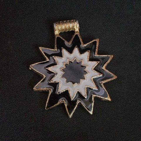 KTC, Black White Colour Brass Metal Pendant, 2.5 Inch
