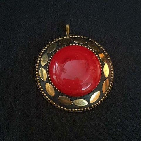KTC, Red Colour Brass Metal Tibetan Pendant, 2.25 Inch
