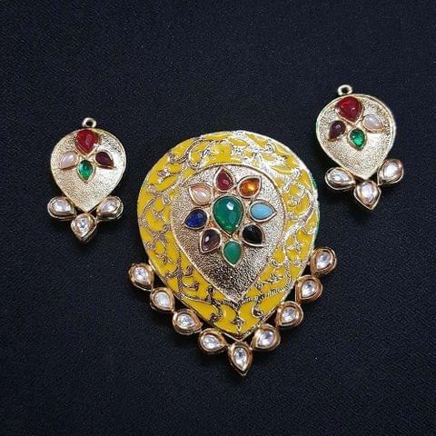 Traditional Yellow Navratna Drop Pendant With AD Kundan, Combo Earring, Pendant- 3 inch, Earring- 2 inch