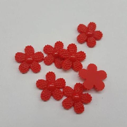 Red, Acrylic Flower 12mm, 100 pcs