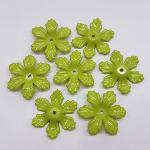 Green, Acrylic Flower 28mm, 100 Pieces