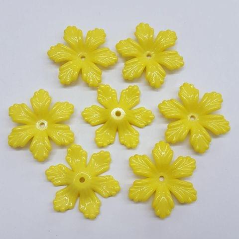 Yellow, Acrylic Flower 28mm, 100 Pieces
