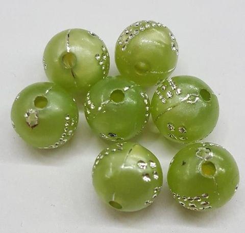 Green, acrylic round beads 8mm, 100 pcs