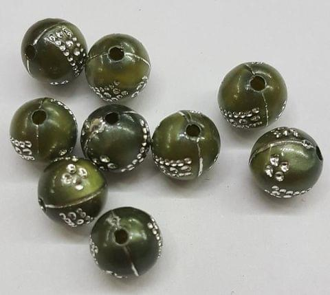Dark Green, Acrylic Round Beads 8mm, 100 pcs