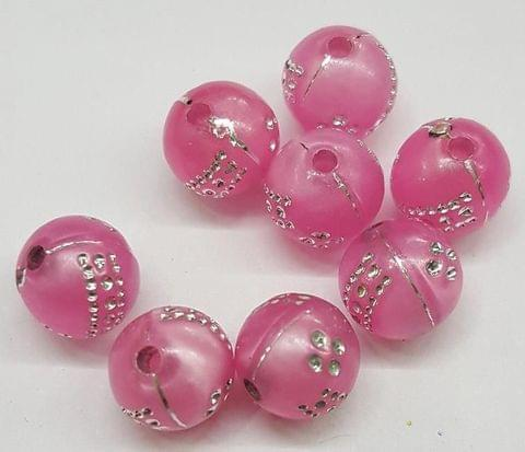 Pink, Acrylic Round Beads 8mm, 100 Pieces