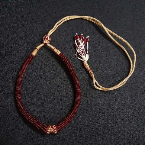 6 Pieces, Maroon Color Hasli Necklace Dories.