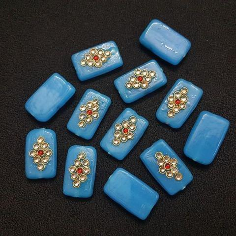 12 pieces, Blue Kundan Stone Beads By KTC, 26x16 mm