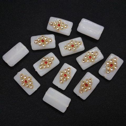 12 pieces, White Kundan Stone Beads By KTC, 26x16 mm
