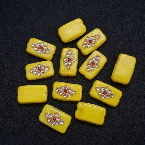 12 pieces, Yellow Kundan Stone Beads By KTC, 26x16 mm