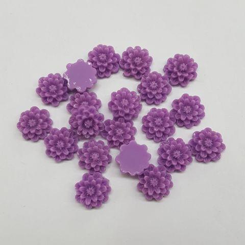 Purple, Acrylic Flower 12mm, 100 Pieces