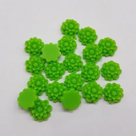 Parrot Green, Acrylic Flower 12mm, 100 pendant