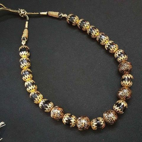 Antique Beaded Mala Necklace For Women / Girls With Adjustable Dori
