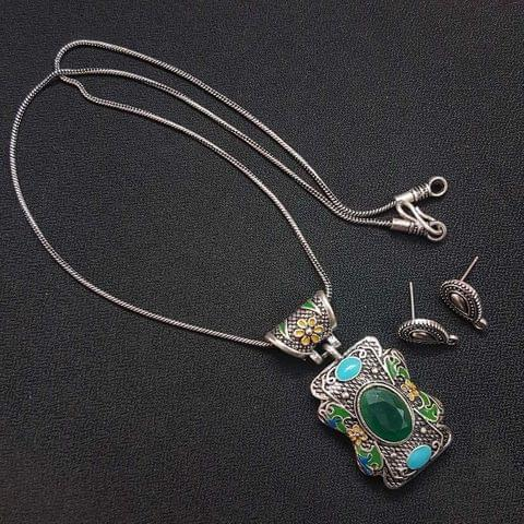 Green German Silver Oxidised Meenakari Chain Necklace With Earrings For Girls / Women