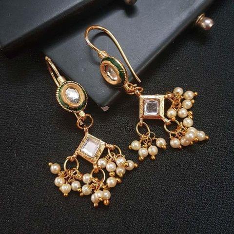 Green Kundan Meenakari Small Drop Earrings For Girls / Women
