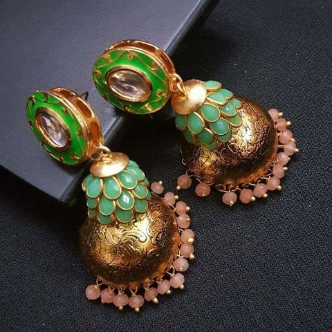 Green Kundan Meenakari Pachhi Antique Oxidised Jhumki Earrings for Girls