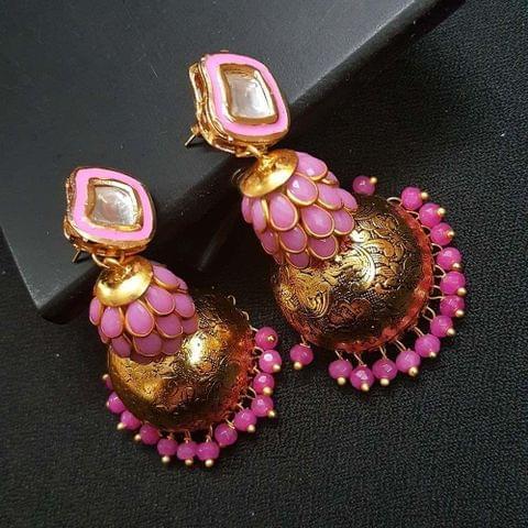 Pink Kundan Meenakari Pachhi Antique Oxidised Jhumki Earrings for Girls
