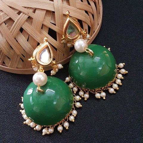 Kundan With Pearl Beading Green Meenakari Jumki Earrings For Girls / Women