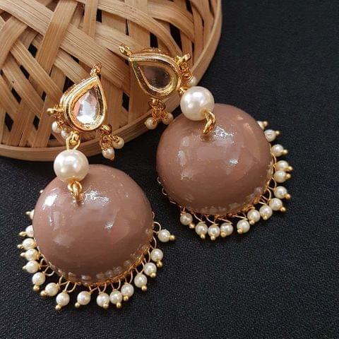 Kundan With Pearl Beading Peach Meenakari Jumki Earrings For Girls / Women
