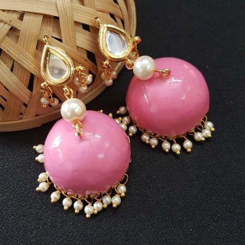 Kundan With Pearl Beading Baby Pink Meenakari Jumki Earrings For Girls / Women