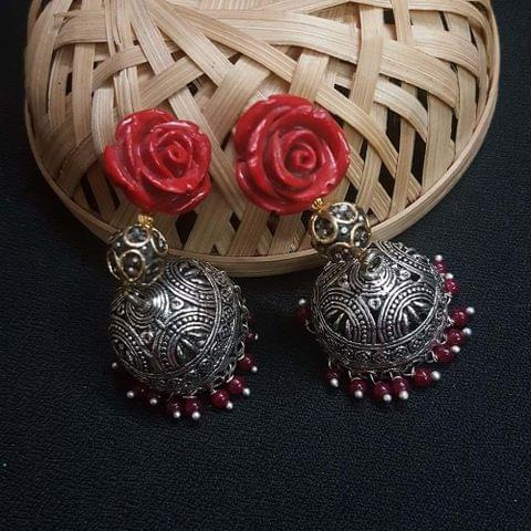 Red Floral With Antique Beads Jhumki Earrings For Girls / Women