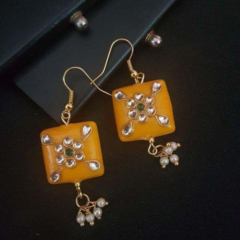 Yellow Blue Square Shape Kundan Work Earrings For Girls / Women