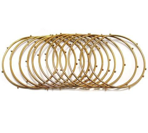 Beadsnfashion Golden Alloy Dotted Bangles set For Girls, Pack Of 12 Bangles, Size 2.6
