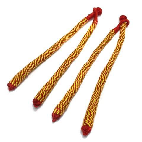 4 Pcs Thread Necklace Dori Yellow 7.5 Inch