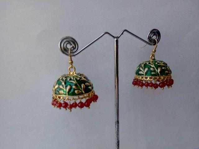 2 Earrings Combo Copper Stones Meena work Red Green Ganesha Utsav