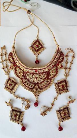 Bridal Wedding Red Jewelry Set Earrings Hathphool 6 Pcs