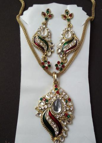 Pendant set With Chain Earrings  Maroon Green .