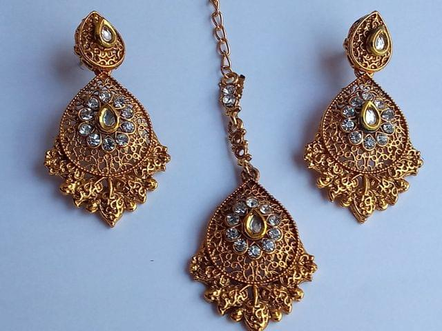 Gold Tone Mangtikka Earrings Combo Set Kundan Bridal