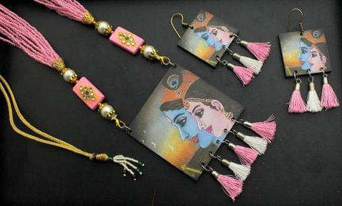 Desiger Navratri Radha Krishna Necklace Earrings Set Pink For Girls and Women