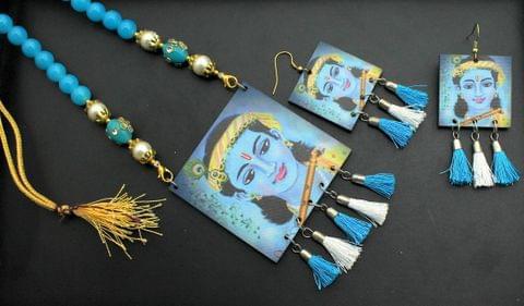 Desiger Navratri Radha Krishna Necklace Earrings Set Turquoise For Girls and Women