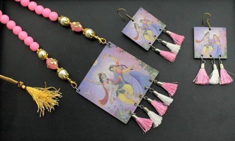 Desiger Navratri Radha Krishna Necklace Earrings Set Pink For Girls and Women