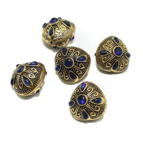 10 Pcs German Silver Gemstone Beads Golden 23x22x20mm