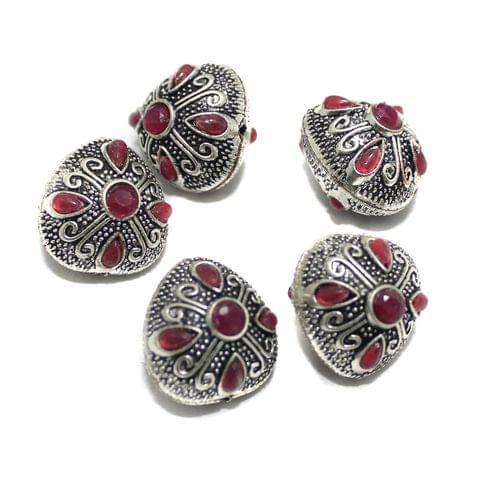 10 Pcs German Silver Gemstone Beads Silver 23x22x20