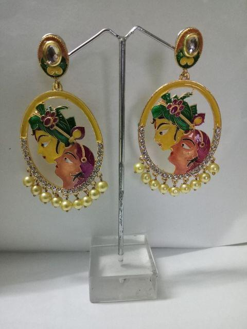 Figure Earrings Yellow Pink Copper Ganesha Utsav sale Fashion Indian