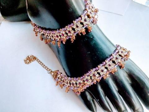 Purple Designer Stones Anklet/ Payal 10-11'