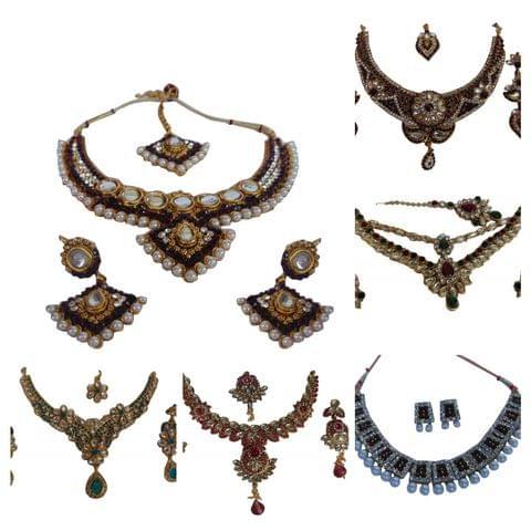 Combo 6 Pcs Necklace Sets Copper  Earrings Mangtikka Ganesha Utsav Sale