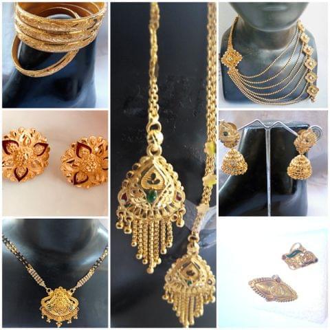 Combo 7 Pcs Jewelry Gold Tone Earrings Mangalsutra  Eartops Bangle