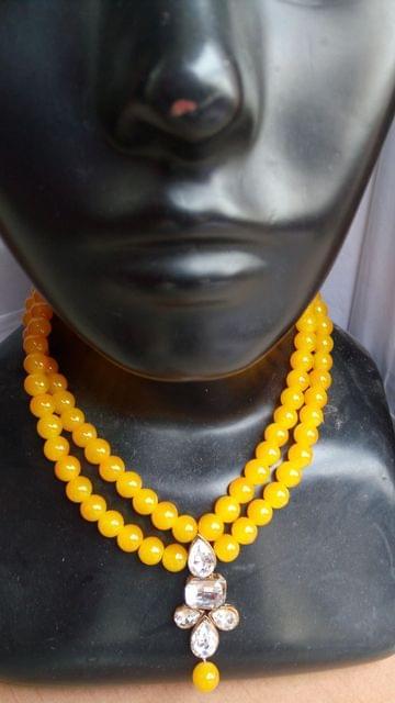 Beaded Kundan Designer Yellow Pendant set Earrings Bridal