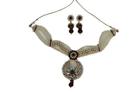 Purple Pearl Pendant Set Earrings Bridal Fashion Indian