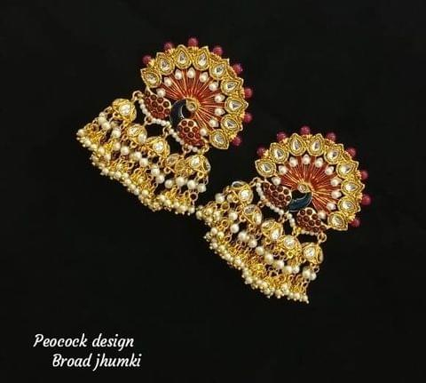 Peacock Earrings Designer Red Gold Tone Jhumki Gold Tone Wedding Bridal