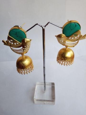 Birds Gold tone blue Designer earrings Jhumki