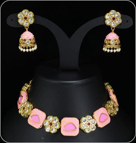 Pink Meena work Kundan Jewellery Set Earrings Navratri Sale